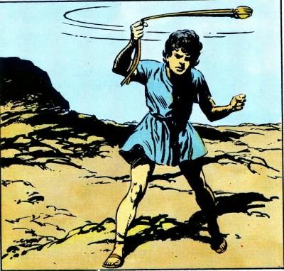 Le combat de David et du géant Goliath