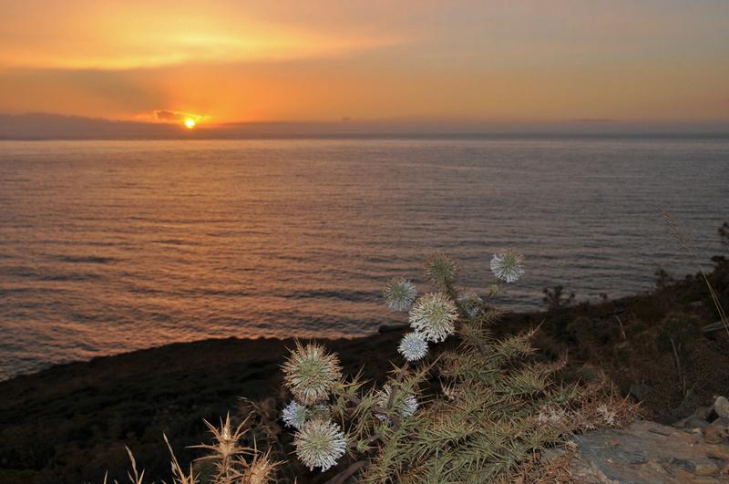 coucher de soleil à Panormos