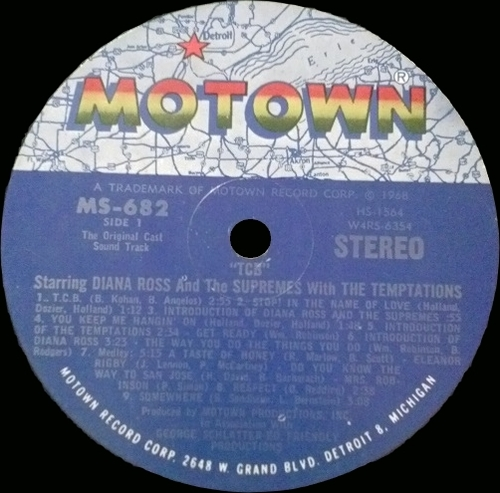 """Diana Ross & The Supremes With The Temptations : Album """" The Original Soundtrack From TCB """" Motown Records MS 682 [ US ]"""