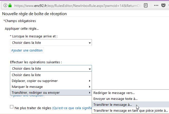 Pour rediriger les mails de ENC92 vers votre adresse mail personnelle