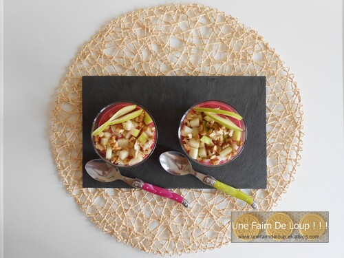 Crème de betterave et tartare de pomme et noix