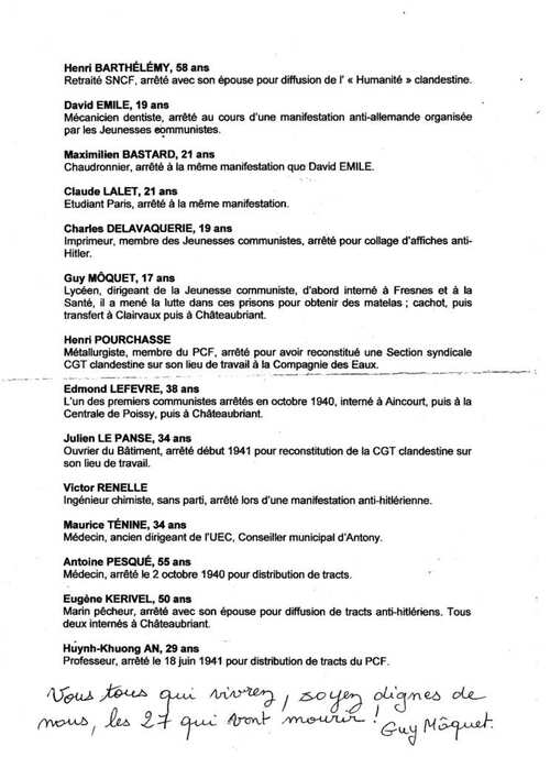 76ème anniversaire des fusillades de Châteaubriant