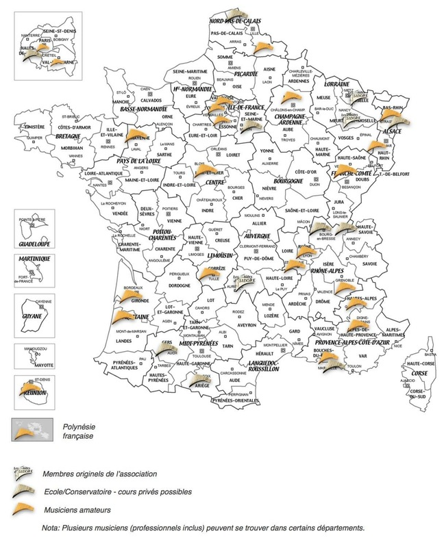 Carte des flutistes de France