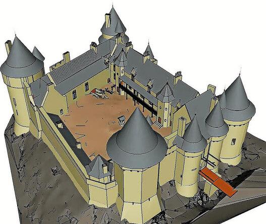 Hypothèse la plus aboutie de restitution de l'état du château à la fin du XVe...