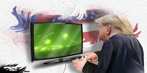 """dessin de JERC et Akaku du mardi 15 mai 2018 caricature Donald Trump  La plaie station, le con sole USA Sport """"it's in the  game"""" www.facebook.com/jercdessin @dessingraffjerc"""
