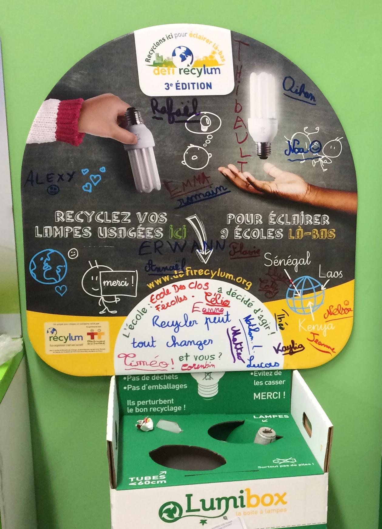 Les Enfants S Impliquent Dans Le Recyclage Des Lampes Classe Des
