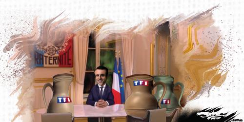 dessin de JERC du mercredi 18 octobre 2017 caricature Emmanuel Macron Pas assez de coupure journalistique pendant la pub Macron www.facebook.com/jercdessin