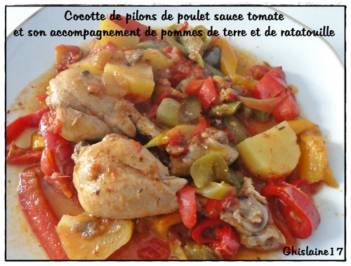 cocotte de pilons de poulet tomate pdt ratatouille ghislaine cuisine. Black Bedroom Furniture Sets. Home Design Ideas