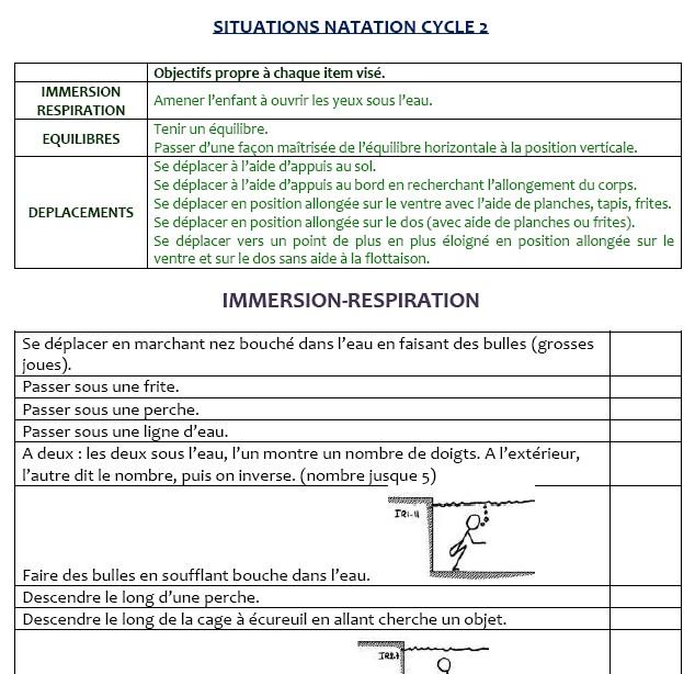 Fiche séance natation cycle 3
