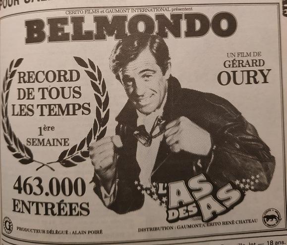L' AS DES AS - JEAN PAUL BELMONDO BOX OFFICE 1982