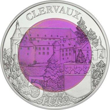LUXEMBOURG UNE PIECE DE 5.00 € ARGENT LE CHATEAU DE CLERVAUX