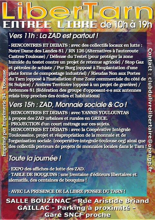 LiberTarn 2013, salon du livre libertaire à la salle Bouzinac !