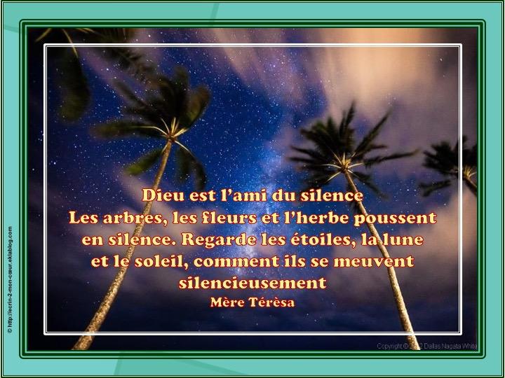 Dieu est l'ami du silence