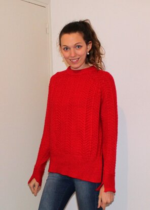 Pull maille rouge H&M