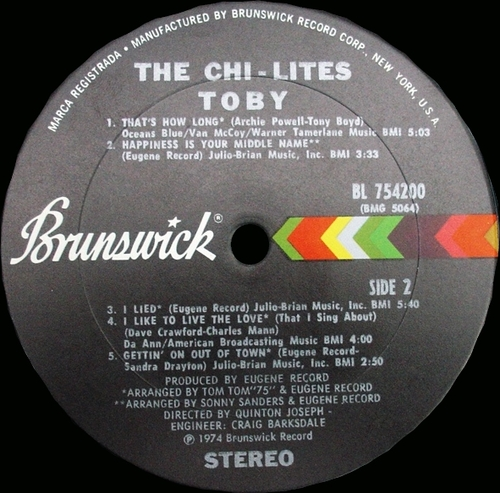 "The Chi-Lites : Album "" Toby "" Brunswick Records BL-754200 [ US ]"