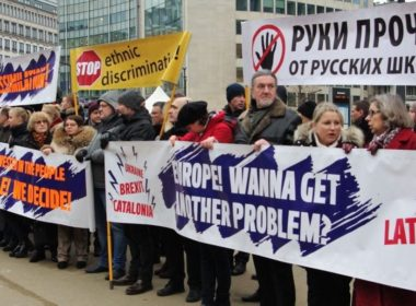 A rally in Brussels to support Russian language education in Latvia