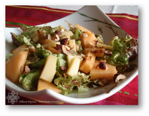 Salade de melon au Comté, vinaigrette au caramel balsamique