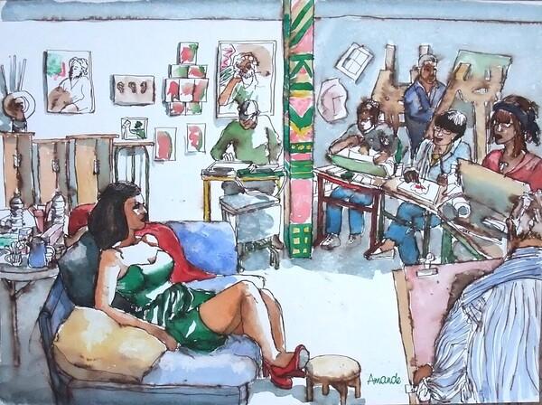 Scène d'atelier (60) : La robe de satin vert