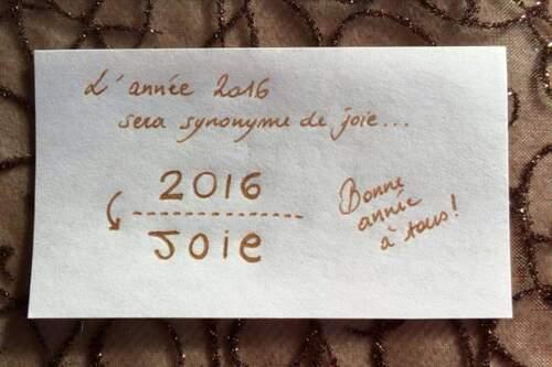 L'année 2016 devrait être synonyme de joie