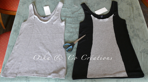 Comment transformer 2 tee-shirts unis, en 2 tee-shirts bicolores