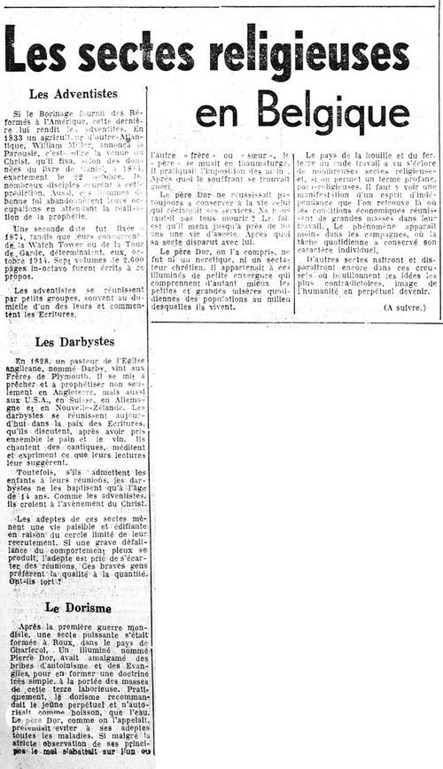 Les sectes religieuses en Belgique (La Lanterne, 4 mai 1950)(Belgicapress)