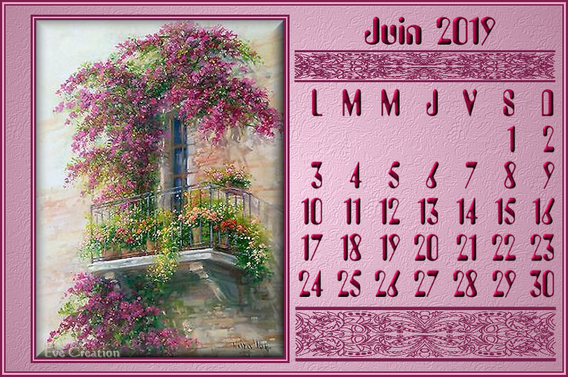 calendrier juin