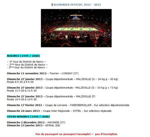 Calendrier Minimes 2012-2013