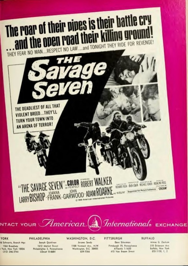 THE SAVAGE SEVEN   BOX OFFICE USA 1968