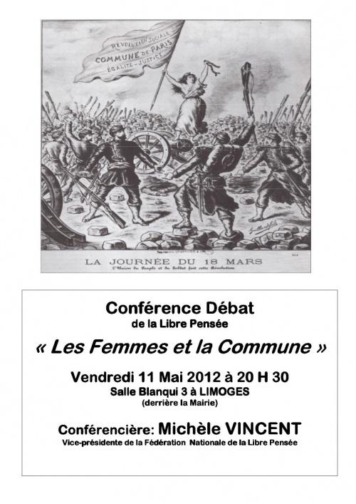 Pensée libre , femmes et Commune de Paris : conférence débat