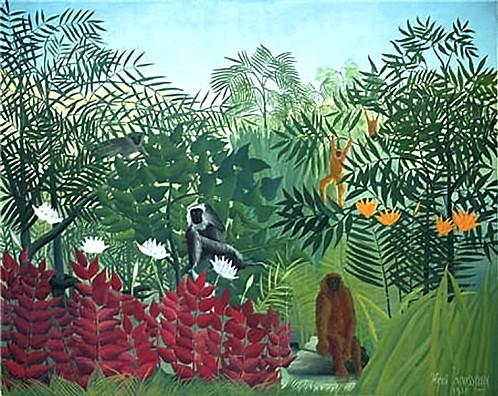 Forêt tropicale avec singe 1910