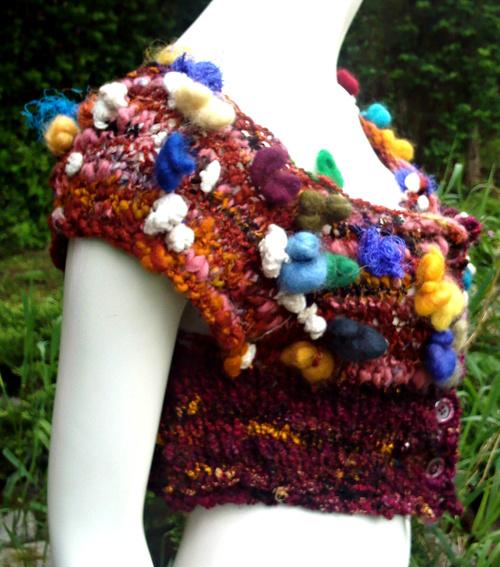 gilet en 1 pièce, sans couture en laine filée main
