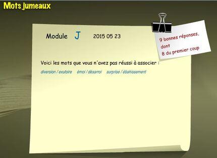 Mots jumeaux, module J. (dernier) (Apprendre en s'amusant)