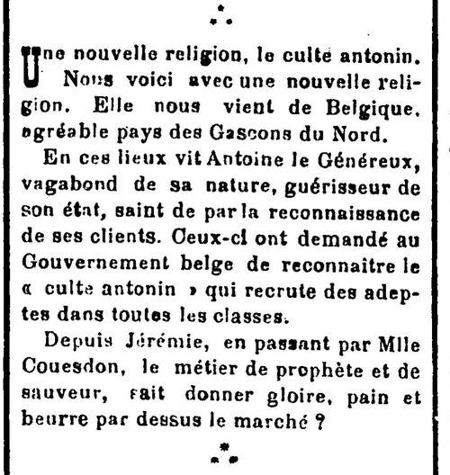 Culte antonin (Le Progrès. Journal de l'arrondissement d'Orléansville 16 fév 1911)