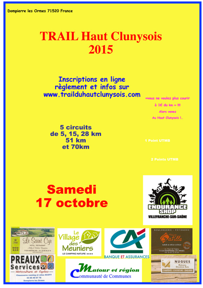 Trail haut Clunysois samedi 17 octobre 2015