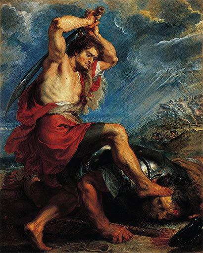 David terrassant Goliath