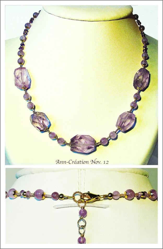 Collier Perles d'Améthyste - Amethyst necklace / Plaqué Or Gold Filled & Vermeil