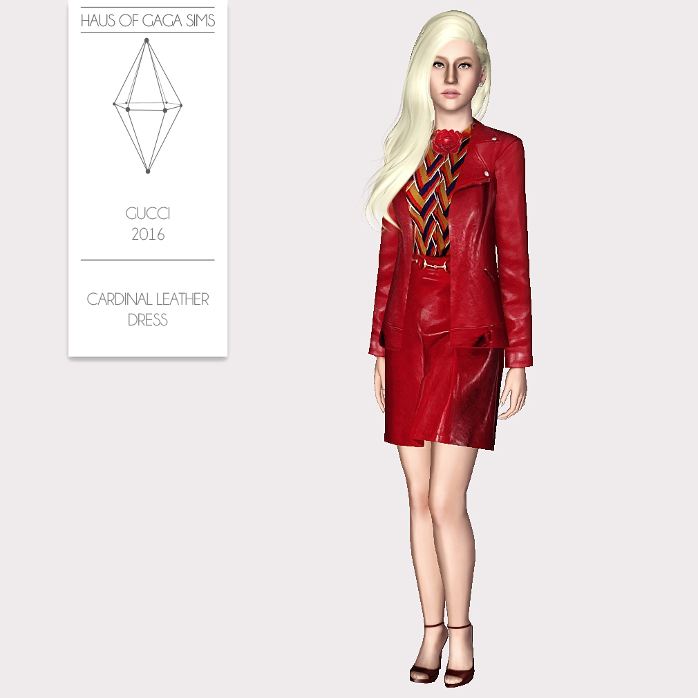 GUCCI 2016 CARDINAL LEATHER DRESS