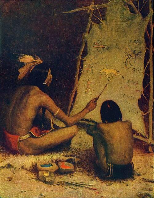 Peintures sur peaux de bisons