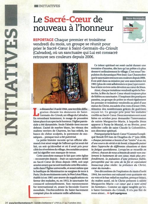 """Reportage sur notre Sanctuaire paru dans """"FAMILLE CHRETIENNE"""" n° 1759"""