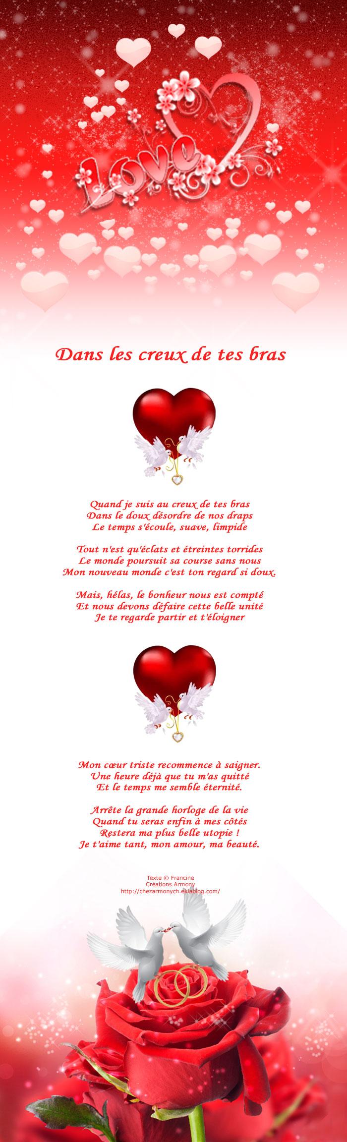 Poème st-valentin Dans les creux de tes bras