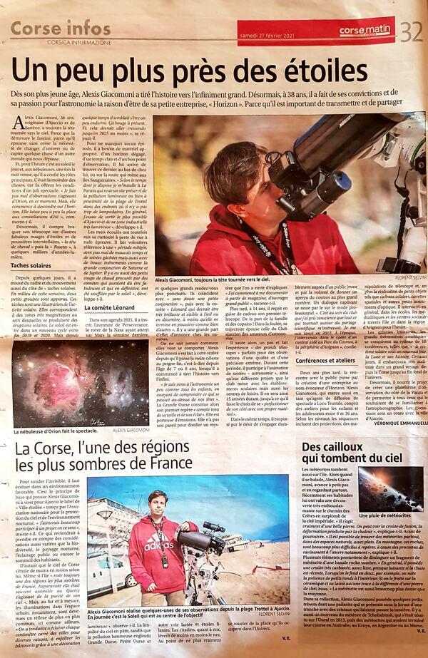 Corse matin du 27 février 2021