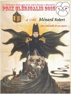 PRIX CLERICALIS 2015 (LIBRE PENSÉE) 1er PRIX à ROBERT MENARD !