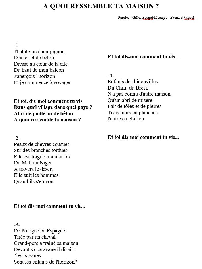 Les chants ma classe de ce2 phalempin for A quoi ressemble ta maison paroles