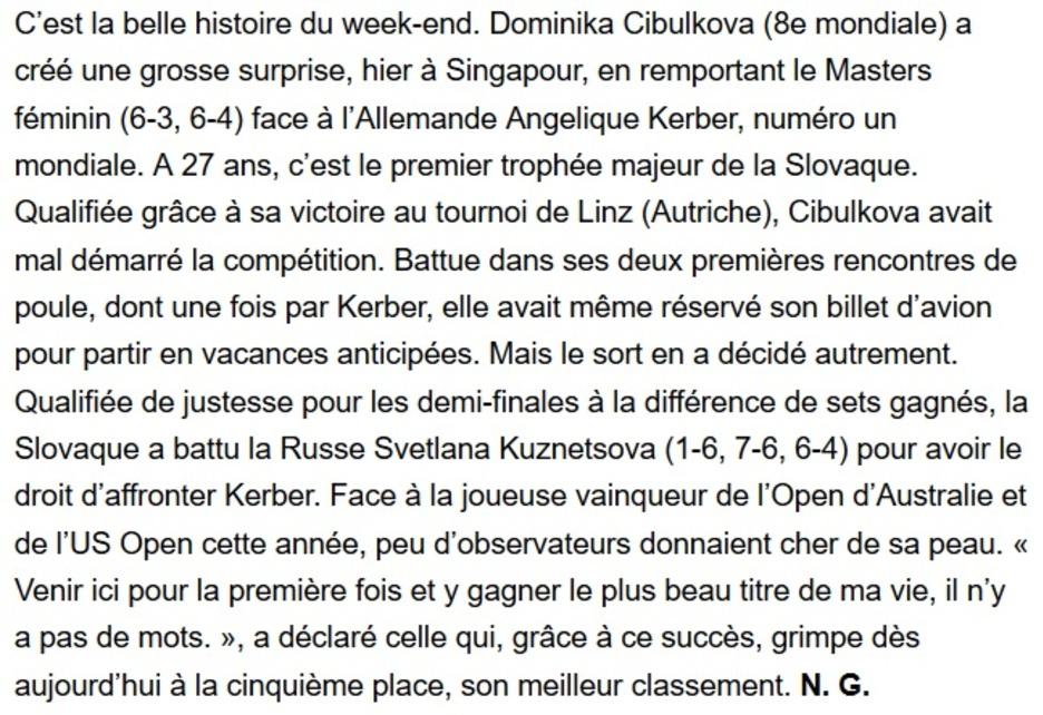 Le rêve éveillé de la Slovaque Doiminika Cibulkova