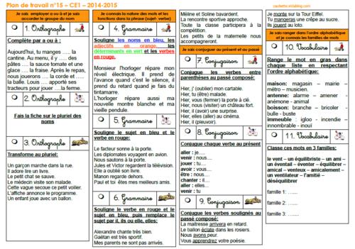 Plan de travail CE1 2014-2015 numéro 14