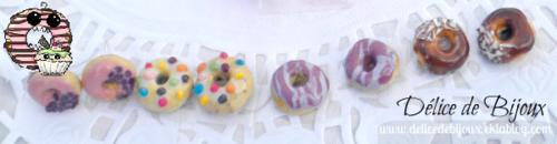 Boucles d'oreilles puces donuts douceur rose, multicolore, délice violet et choco-coco en fimo