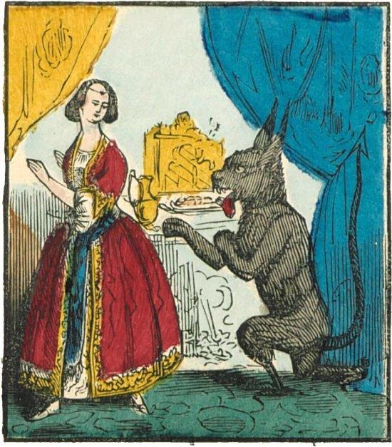 La Bête demande à la Belle si elle consent à l'épouser. Vignette extraite d'une série d'images d'Épinal de 1846 publiée par Pellerin et consacrée à La Belle et la Bête