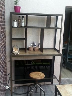 Meuble tri postal mobilier industriel acier et bois o'range Metalic