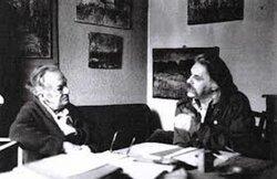 Paul Valet avec Guy Benoit, 1986.