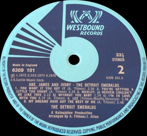 "Detroit Emeralds : Album "" Abe , James & Ivory "" Westbound Records 6309 101 [ UK ]"